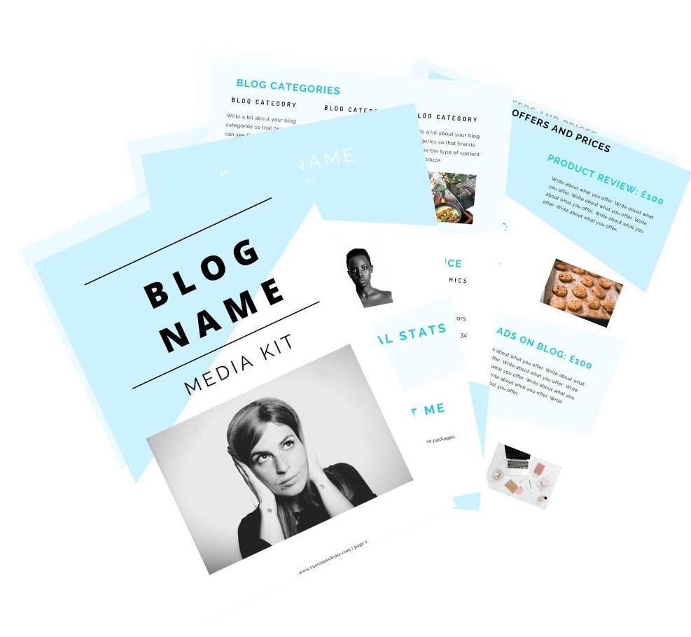 get your 4 page influencer media kit template now