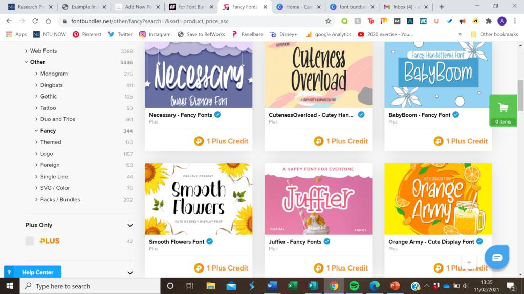 font bundles examples